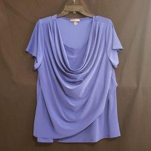 Roz and Ali blue scoopneck shortsleeve blouse